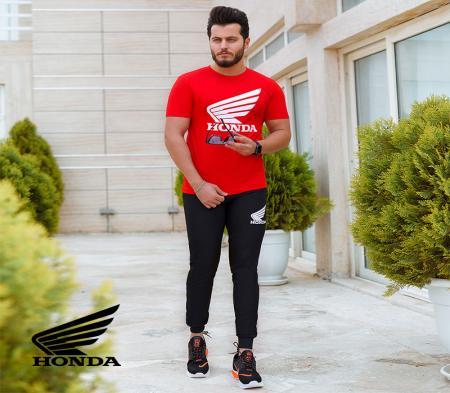 ست تیشرت وشلوار مردانه Honda مدل Jerard (قرمز)